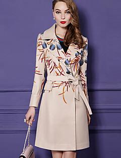 Dames Street chic Herfst Winter Jas,Uitgaan Print Overhemdkraag Lange mouw Normaal Kasjmier Polyester