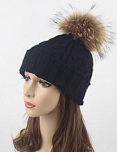 Mulher Chapéu Chapéus Roupa de Malha Lã Acrílico Pêlo de Guaxinim Outono Inverno Floppy Esqui,Sólido Côr Pura