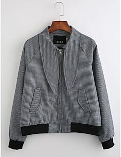billige Lagersalg-Bomull Normal Skjortekrage Jakke Stripet Høst Vintage Daglig Dame