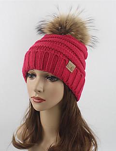 preiswerte -Damen Hut Mützen Strickware Herbst Winter Wolle Acryl Waschbär-Pelz Schlapphut Skimütze,Solide Reine Farbe