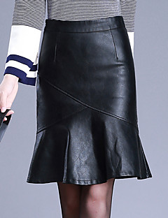 Women's Daily Above Knee Skirts,Casual Bodycon PU Solid Winter Fall