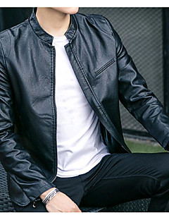 Men's Casual/Daily Casual Fall Leather Jacket