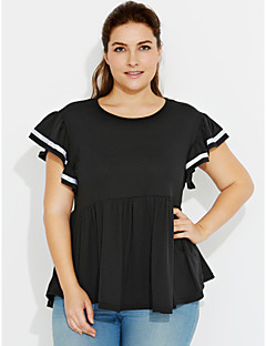 Women's Ruffle Casual/Daily Plus Size / Street chic Summer T-shirt,Solid Round Neck Short Sleeve Black / Gray Cotton Medium