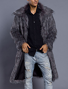 cheap Fur Coat-Men's Weekend Simple Casual Long Plus Size Faux Fur Fur Coat-Solid Colored Shirt Collar