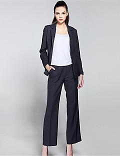 Damen Solide Anspruchsvoll Arbeit Lässig/Alltäglich Anzug,Hemdkragen Herbst Lange Ärmel Standard Polyester