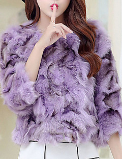 Women's Party Going out Vintage Street chic Fall Winter Fur Coat,Color Block V Neck ¾ Sleeve Short Faux Fur Cotton