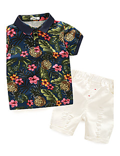Boys' Floral Clothing Set,Cotton Summer Short Sleeve Floral Navy Blue