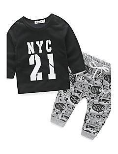 Boys' Print Clothing Set,Cotton Spring Fall Long Sleeve Cartoon White Black Purple