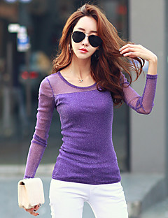 cheap -Women's Daily Going out Casual Winter Fall T-shirt,Solid Round Neck Long Sleeves Nylon