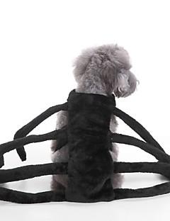 billiga Hundkläder-Katt Hund Dräkter/Kostymer Hundkläder Enfärgad Svart Terylen Kostym För husdjur Fest Cosplay Halloween