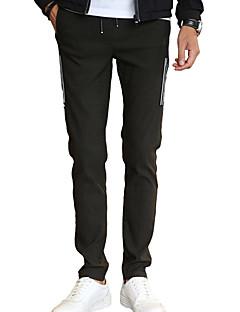 Pánské Jednoduchý Aktivní Natahovací Kalhoty chinos Kalhoty Štíhlý Mid Rise Jednobarevné