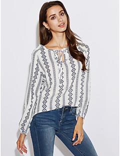 Rayon Langermet,Skjortekrage Skjorte Stripet Vintage Ut på byen Dame