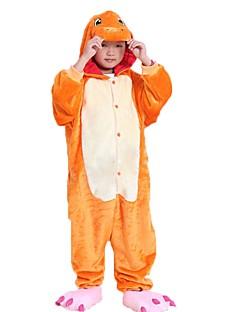 billige Kigurumi-Kigurumi-pysjamas med tøfler Drage Onesie-pysjamas Kostume Flannelstoff Cosplay Til Barne Pysjamas med dyremotiv Tegnefilm Halloween