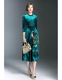 Kadın Dışarı Çıkma Sade A Şekilli Elbise Nakışlı,3/4 Kol Yuvarlak Yaka Midi Polyester Sonbahar Normal Bel Mikro-Esnek Orta