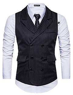 Erkek Pamuklu Kolsuz Gömlek Yaka Sonbahar Kış Çizgili Basit Dışarı Çıkma Günlük/Sade Normal-Erkek Vesta