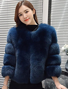 Women's Casual/Daily Simple Fall Winter Fur Coat,Solid Round Neck Long Sleeve Short Fox Fur