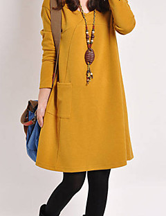 Women's Going out Casual/Daily Sexy Vintage Boho Loose Sweater Dress,Solid Round Neck Knee-length Long Sleeves Polyester Spring Fall Mid