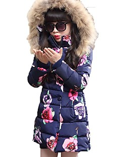 Girls' Floral Down & Cotton Padded,Polyester Winter All Seasons Long Sleeve Dresswear Blushing Pink Navy Blue