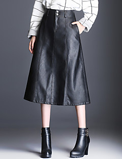 Women's Casual/Daily Midi Skirts,Simple A Line Solid Fall Winter