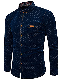 Men's Daily Work Casual Active Shirt,Polka Dot Standing Collar Long Sleeves Polyester