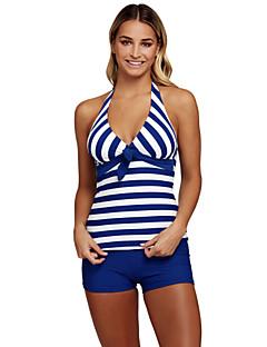 billige Bikinier og damemote 2017-Dame Store størrelser Sporty Grime Bikinikjole - Trykt mønster, Boy Leg Stripet