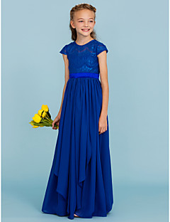 A-Linie Princess Tričkový Na zem Šifón Krajka Šaty pro malou družičku s Mašle Šerpa / Stuha podle LAN TING BRIDE®