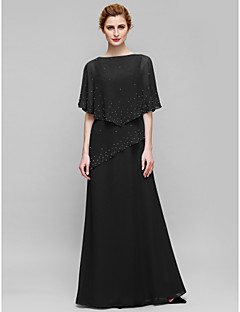 cheap -Sheath / Column Bateau Neck Floor Length Chiffon Mother of the Bride Dress with Beading by LAN TING BRIDE®
