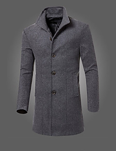 Men's Going out Casual/Daily Simple Vintage Fall Winter CoatSolid Shirt Collar Long Sleeve Long Wool