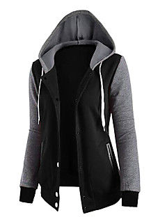 Women's Going out Simple Hoodie Solid Hooded Micro-elastic Polyester Long Sleeve Fall Winter