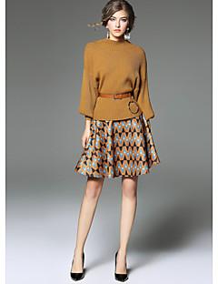 Damen Druck Niedlich Ausgehen T-shirt Rock Anzüge,Rundhalsausschnitt Herbst Langärmelige Baumwolle Mikro-elastisch