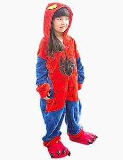 billige Kigurumi-Kigurumi-pysjamas med tøfler Spider Onesie-pysjamas Kostume Flannelstoff Cosplay Til Barn Pysjamas med dyremotiv Tegnefilm Halloween