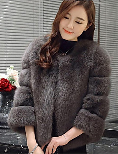 Women's Daily Simple Casual Winter Fall Fur Coat,Solid Round Neck Long Sleeve Short Fox Fur