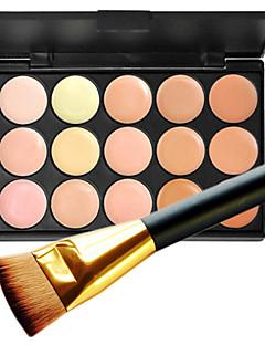 1pc 15 renk pro doğal kontur yüz kremi yüz muhafaza makyajı kozmetik paleti ve 1 düz konturluk kapatıcı fırça
