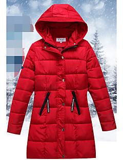 Damen Daunen Mantel Einfach Ausgehen Solide-Baumwolle Polyester Polypropylen Langarm