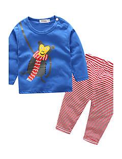 billige Sett med babyklær-Baby Børne Nattøj Indendørs Stribe Dyr, 100 % bomuld Forår/Vinter Langærmet Stribet Blå Hvid