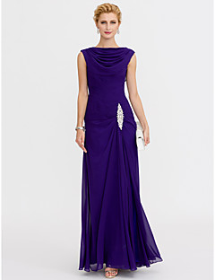 Sheath / Column Cowl Neck Ankle Length Chiffon Charmeuse Mother of the Bride Dress with Beading Criss Cross by LAN TING BRIDE®