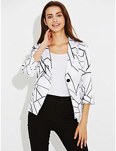 Feminino Terno Casual Férias Moda de Rua Sofisticado Primavera Outono,Listrado Padrão Algodão Colarinho de Camisa Manga Longa