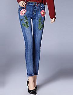 レディース ストリートファッション ミッドライズ スリム タイト マイクロエラスティック チノパン パンツ 刺繍 ソリッド