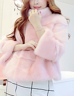 Women's Party Casual/Daily Street chic Winter Fur Coat,Solid V Neck ¾ Sleeve Regular Faux Fur Cotton
