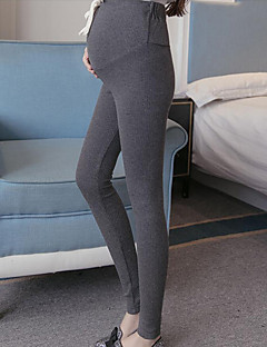 זול בגדי הריון-מכנסיים סקיני רזה כותנה סטרצ'י (נמתח) גיזרה נמוכה אחיד יום יומי חורף סתיו נשים