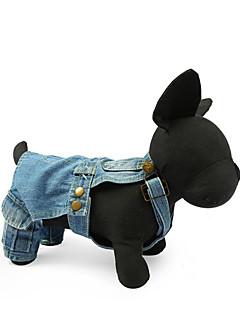 baratos -Cachorro Arreios Macacão Roupas para Cães Casual Sólido Azul Escuro Azul Claro Ocasiões Especiais Para animais de estimação