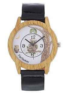 billige Læder-Herre Dame Quartz Ur Træ Unik Creative Watch Armbåndsur Modeur Kinesisk Hot Salg Læder Bånd Vedhæng Vintage Afslappet Elegant Ugle Sort
