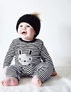 billige Babytøj-Baby Unisex En del Helfarve Stribe, Bomuld Forår/Vinter Langærmet Stribet Sort Lyserød Lyseblå
