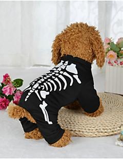 billiga Hundkläder-Hund Dräkter / Kostymer Hundkläder Dödskalle Svart Terylen Kostym För husdjur Halloween