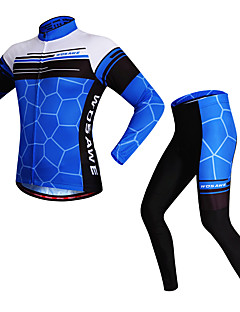 WOSAWE Cycling Jersey with Tights Unisex Long Sleeves Bike Clothing Suits Reflective Strip Quick Dry Stretchy Polyester Spandex Classic
