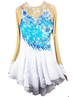 Eiskunstlaufkleid Damen Mädchen Eiskunstlaufkleider Blasses Blau Elasthan Chinlon Hochelastisch Solide Leistung Langarm