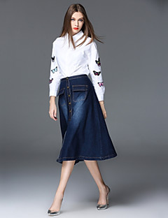 Women's Daily Work Casual Spring Fall Shirt Skirt Suits,Embroidery Shirt Collar Long Sleeve Spandex Others Micro-elastic