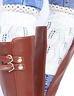 暖かい秋と冬のニットブーツのための女性の毛糸の足の袖の保護