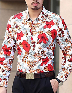 cheap Men's Shirts-Men's Party Daily Casual Spring Fall Shirt, Floral Shirt Collar Long Sleeves Cotton Polyester