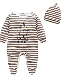 billige Babytøj-Baby Unisex En del Stribe, 100 % bomuld Forår/Vinter Langærmet Stribet Brun Rød